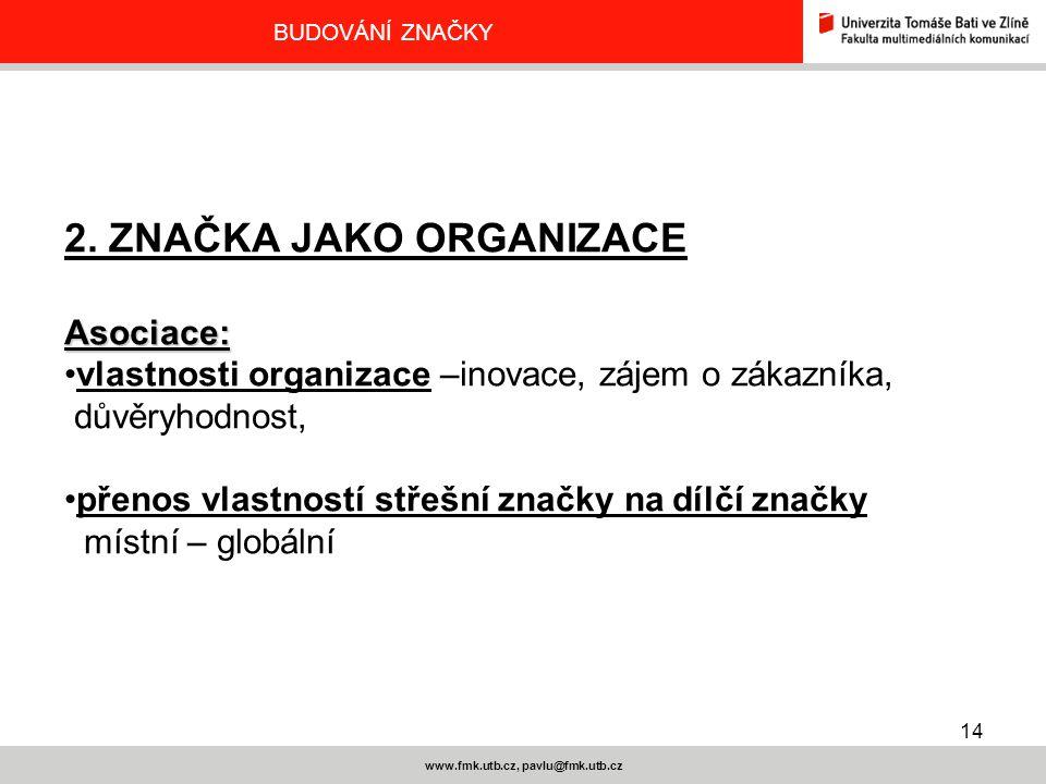 14 www.fmk.utb.cz, pavlu@fmk.utb.cz BUDOVÁNÍ ZNAČKY 2. ZNAČKA JAKO ORGANIZACEAsociace: vlastnosti organizace –inovace, zájem o zákazníka, důvěryhodnos
