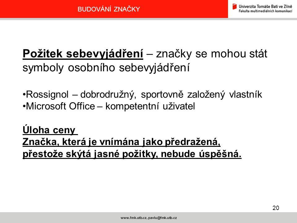 20 www.fmk.utb.cz, pavlu@fmk.utb.cz BUDOVÁNÍ ZNAČKY Požitek sebevyjádření – značky se mohou stát symboly osobního sebevyjádření Rossignol – dobrodružn