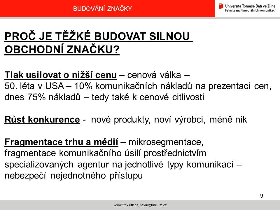 9 www.fmk.utb.cz, pavlu@fmk.utb.cz BUDOVÁNÍ ZNAČKY PROČ JE TĚŽKÉ BUDOVAT SILNOU OBCHODNÍ ZNAČKU? Tlak usilovat o nižší cenu – cenová válka – 50. léta