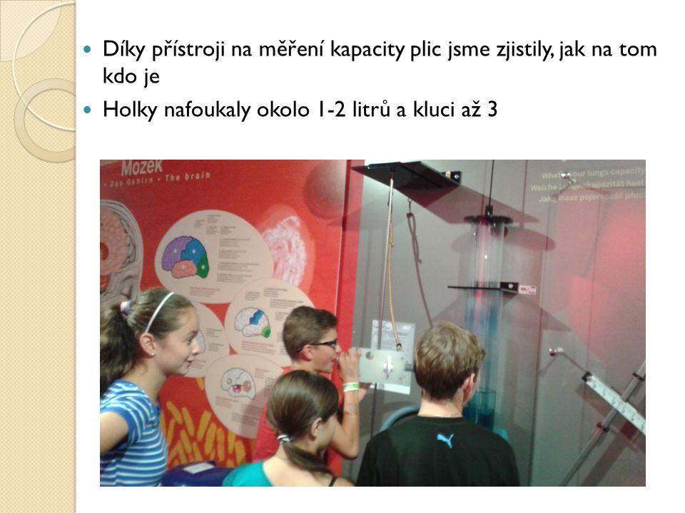 Díky přístroji na měření kapacity plic jsme zjistily, jak na tom kdo je Holky nafoukaly okolo 1-2 litrů a kluci až 3