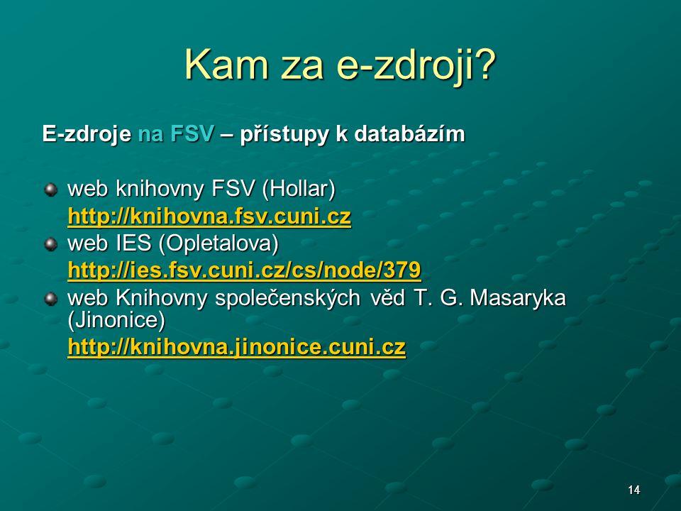 1414 E-zdroje na FSV – přístupy k databázím web knihovny FSV (Hollar) http://knihovna.fsv.cuni.cz web IES (Opletalova) http://ies.fsv.cuni.cz/cs/node/379 web Knihovny společenských věd T.