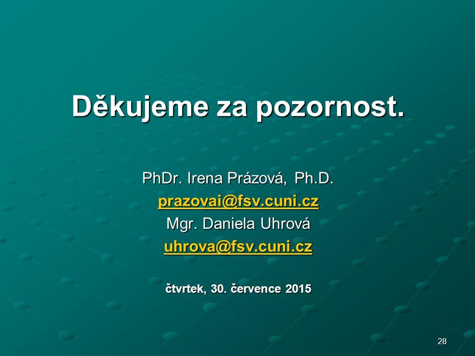 28 Děkujeme za pozornost. PhDr. Irena Prázová, Ph.D.