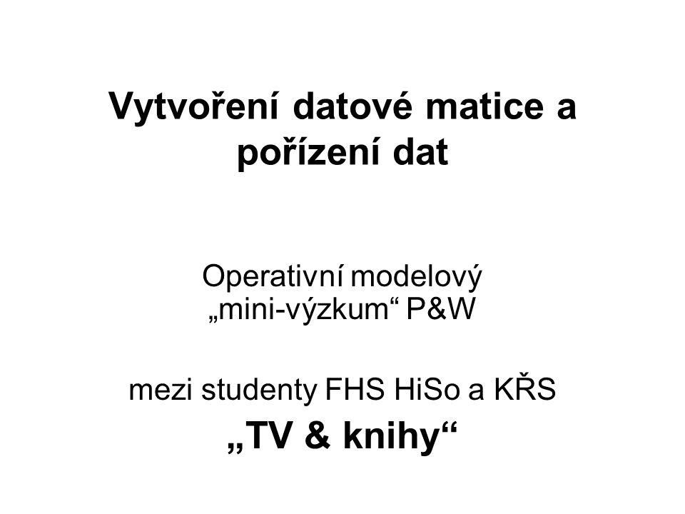 """Virtuální dotazník """" TV & knihy Zjišťujeme následující proměnné: ID (číslo dotazníku) Obor/ročník/forma studia Věk Pohlaví Hodiny TV → Kolik hodin denně před TV."""