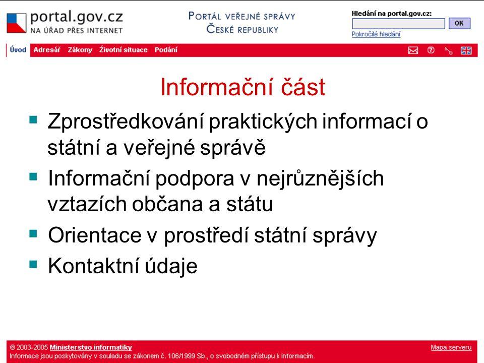 Informační část Zprostředkování praktických informací o státní a veřejné správě Informační podpora v nejrůznějších vztazích občana a státu Orientace v prostředí státní správy Kontaktní údaje