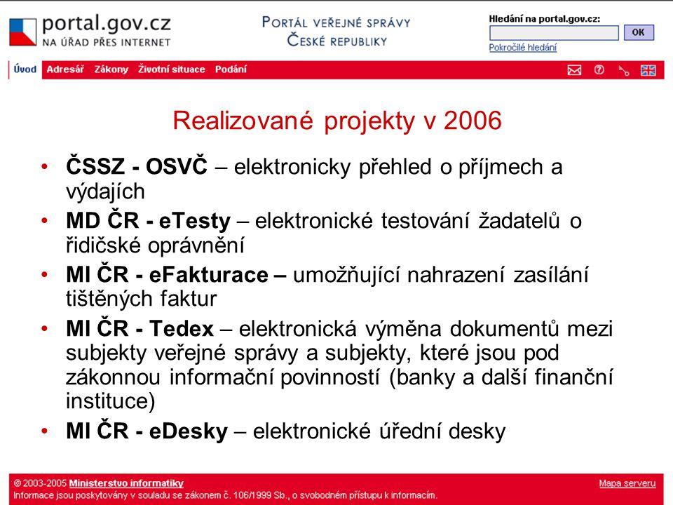 Realizované projekty v 2006 ČSSZ - OSVČ – elektronicky přehled o příjmech a výdajích MD ČR - eTesty – elektronické testování žadatelů o řidičské oprávnění MI ČR - eFakturace – umožňující nahrazení zasílání tištěných faktur MI ČR - Tedex – elektronická výměna dokumentů mezi subjekty veřejné správy a subjekty, které jsou pod zákonnou informační povinností (banky a další finanční instituce) MI ČR - eDesky – elektronické úřední desky