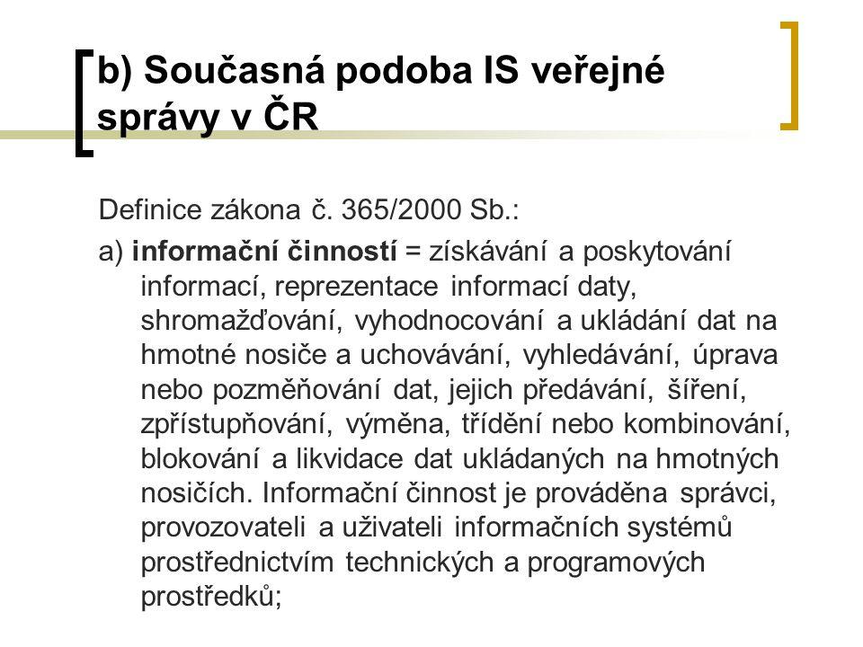 b) Současná podoba IS veřejné správy v ČR Definice zákona č. 365/2000 Sb.: a) informační činností = získávání a poskytování informací, reprezentace in
