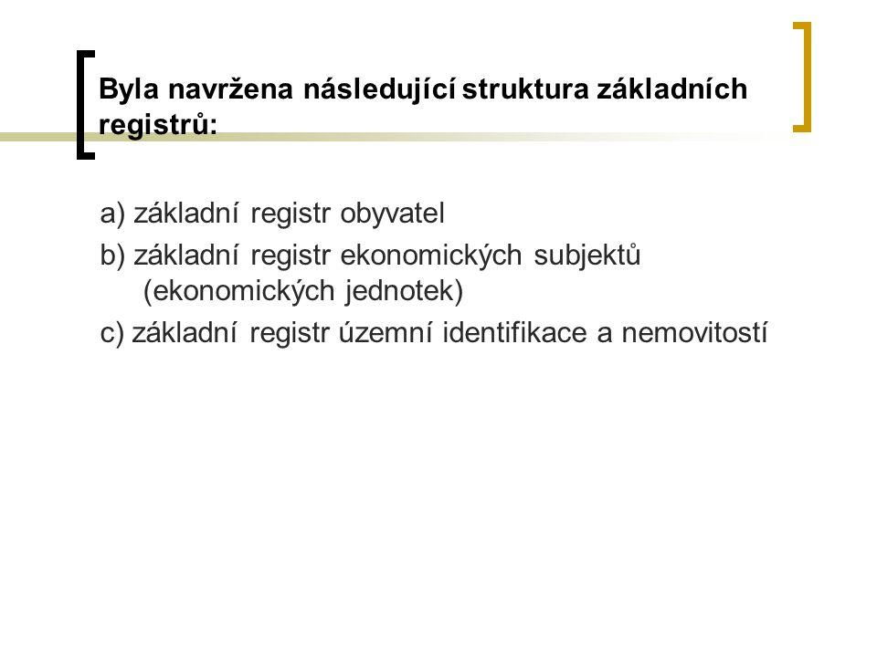 Byla navržena následující struktura základních registrů: a) základní registr obyvatel b) základní registr ekonomických subjektů (ekonomických jednotek