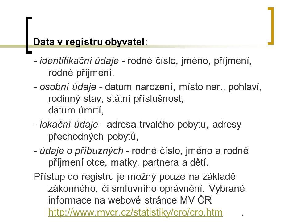 Data v registru obyvatel: - identifikační údaje - rodné číslo, jméno, příjmení, rodné příjmení, - osobní údaje - datum narození, místo nar., pohlaví,