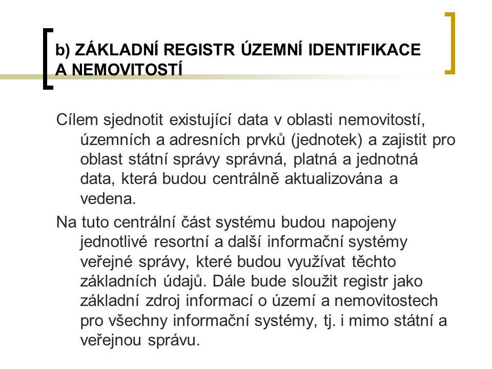 b) ZÁKLADNÍ REGISTR ÚZEMNÍ IDENTIFIKACE A NEMOVITOSTÍ Cílem sjednotit existující data v oblasti nemovitostí, územních a adresních prvků (jednotek) a z