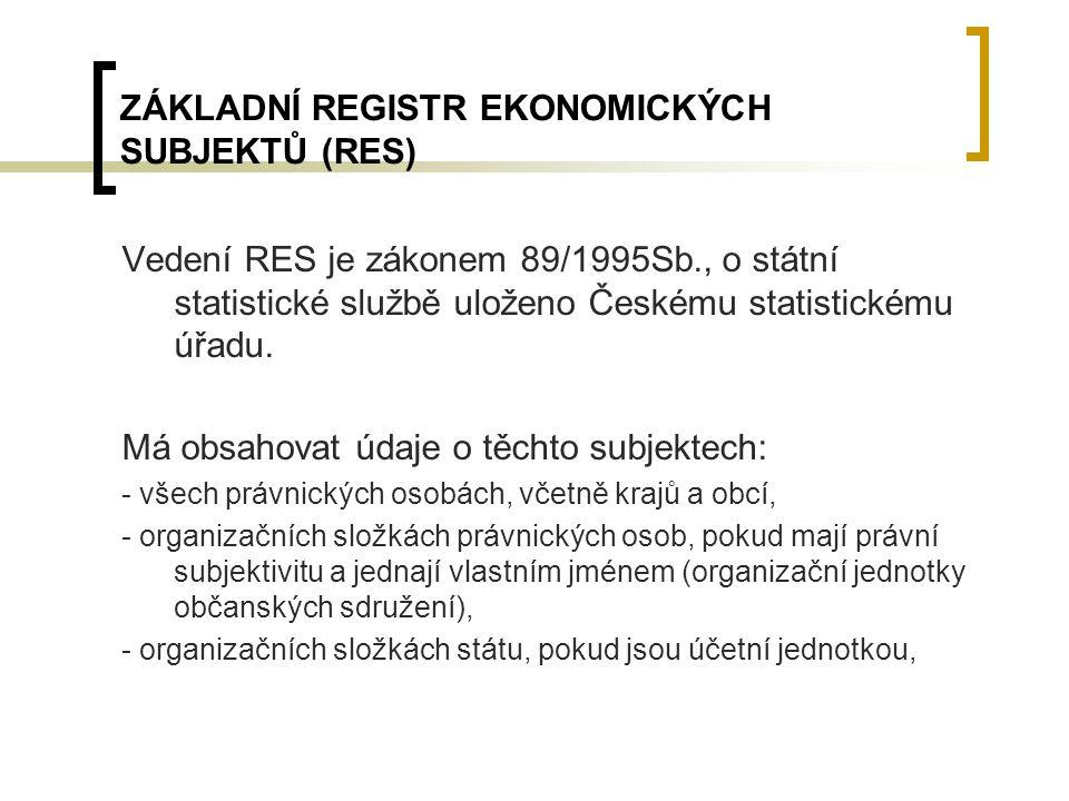 ZÁKLADNÍ REGISTR EKONOMICKÝCH SUBJEKTŮ (RES) Vedení RES je zákonem 89/1995Sb., o státní statistické službě uloženo Českému statistickému úřadu. Má obs
