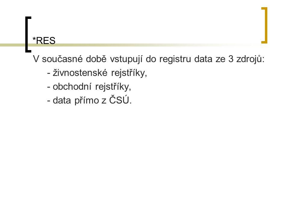 *RES V současné době vstupují do registru data ze 3 zdrojů: - živnostenské rejstříky, - obchodní rejstříky, - data přímo z ČSÚ.