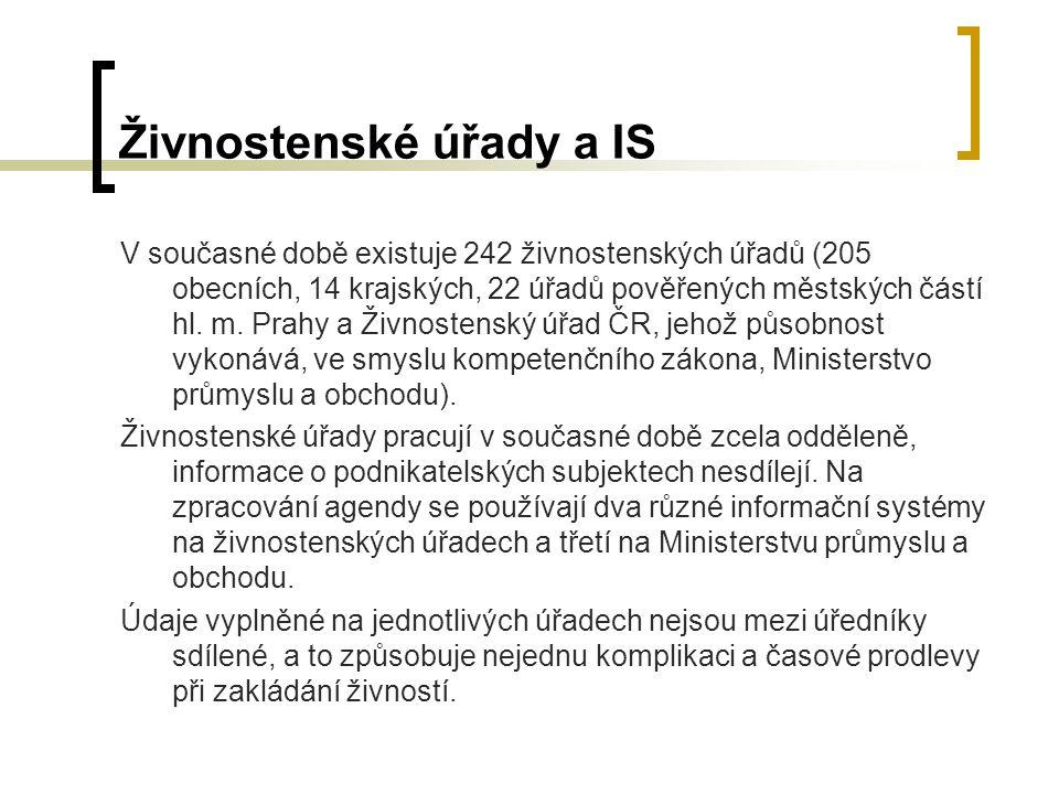 Živnostenské úřady a IS V současné době existuje 242 živnostenských úřadů (205 obecních, 14 krajských, 22 úřadů pověřených městských částí hl. m. Prah