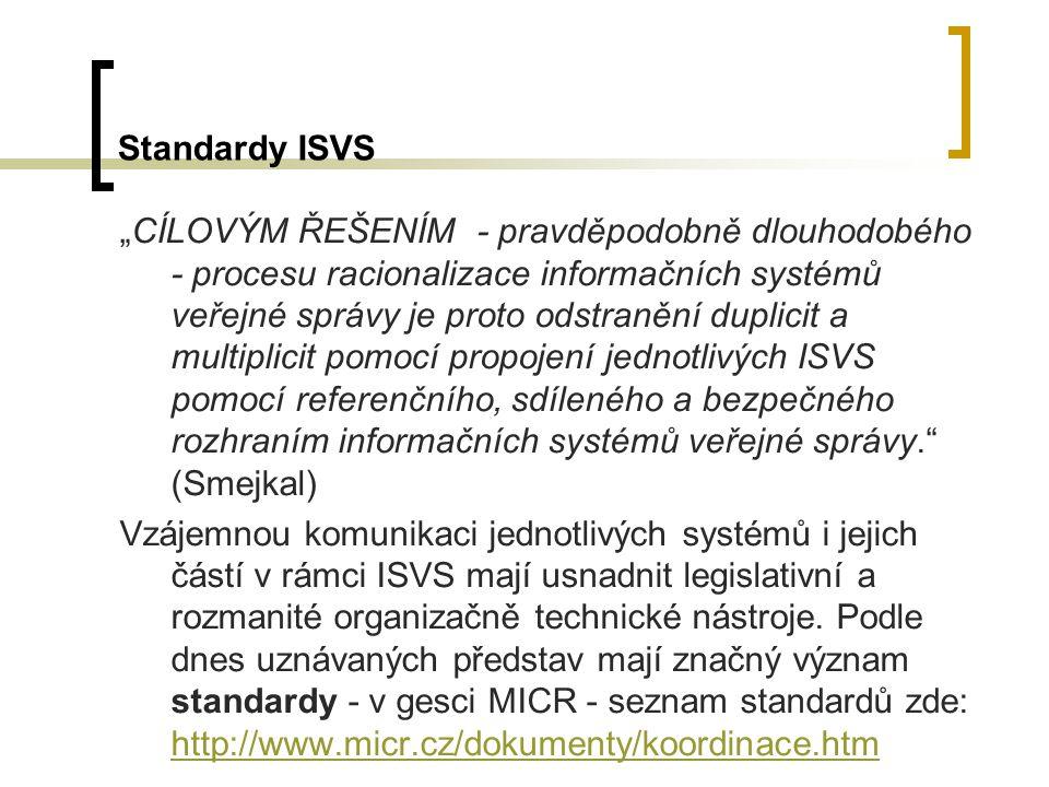 """Standardy ISVS """"CÍLOVÝM ŘEŠENÍM - pravděpodobně dlouhodobého - procesu racionalizace informačních systémů veřejné správy je proto odstranění duplicit"""