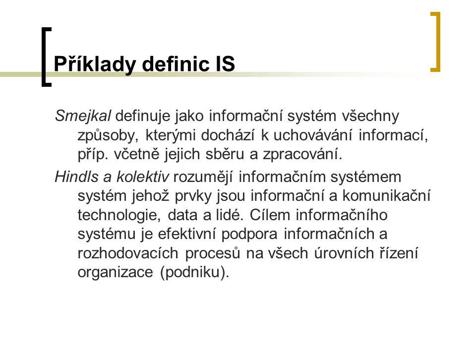 Příklady definic IS Smejkal definuje jako informační systém všechny způsoby, kterými dochází k uchovávání informací, příp. včetně jejich sběru a zprac