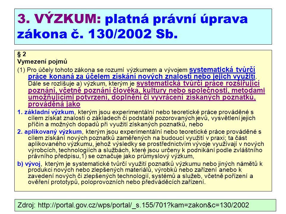 3. VÝZKUM: platná právní úprava zákona č. 130/2002 Sb.