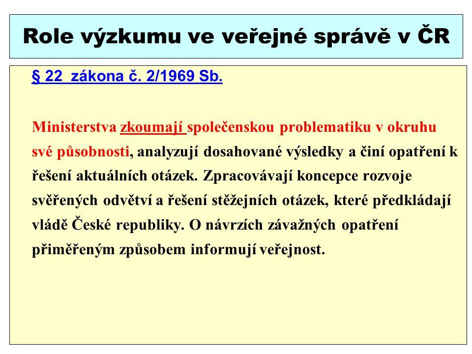 Role výzkumu ve veřejné správě v ČR § 22 zákona č.