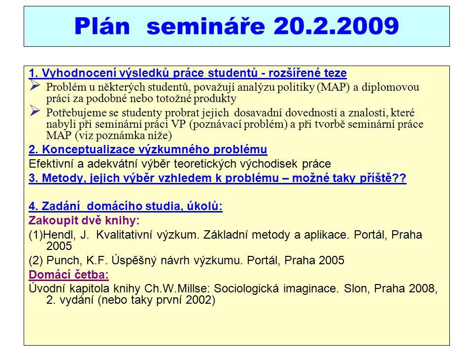 Plán semináře 20.2.2009 1.
