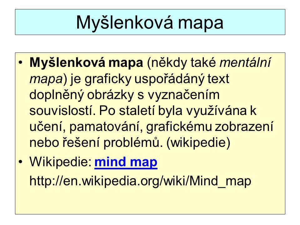 Myšlenková mapa Myšlenková mapa (někdy také mentální mapa) je graficky uspořádáný text doplněný obrázky s vyznačením souvislostí.