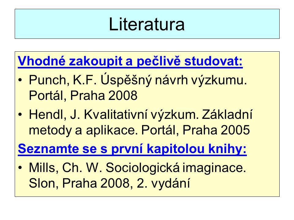 Literatura Vhodné zakoupit a pečlivě studovat: Punch, K.F.