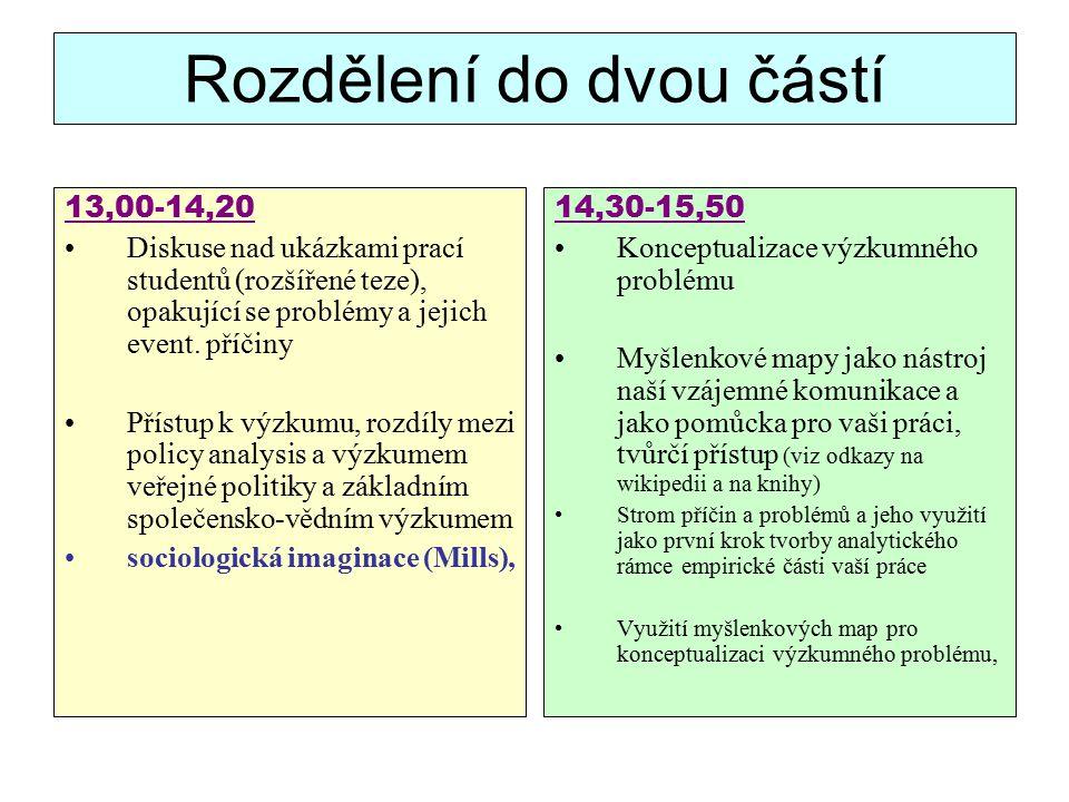 Rozdělení do dvou částí 13,00-14,20 Diskuse nad ukázkami prací studentů (rozšířené teze), opakující se problémy a jejich event.