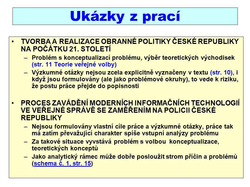 Ukázky z prací TVORBA A REALIZACE OBRANNÉ POLITIKY ČESKÉ REPUBLIKY NA POČÁTKU 21.
