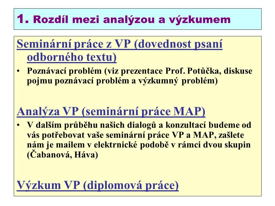 1. Rozdíl mezi analýzou a výzkumem Seminární práce z VP (dovednost psaní odborného textu) Poznávací problém (viz prezentace Prof. Potůčka, diskuse poj