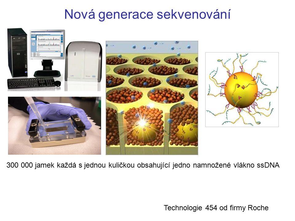 Nová generace sekvenování 300 000 jamek každá s jednou kuličkou obsahující jedno namnožené vlákno ssDNA Technologie 454 od firmy Roche