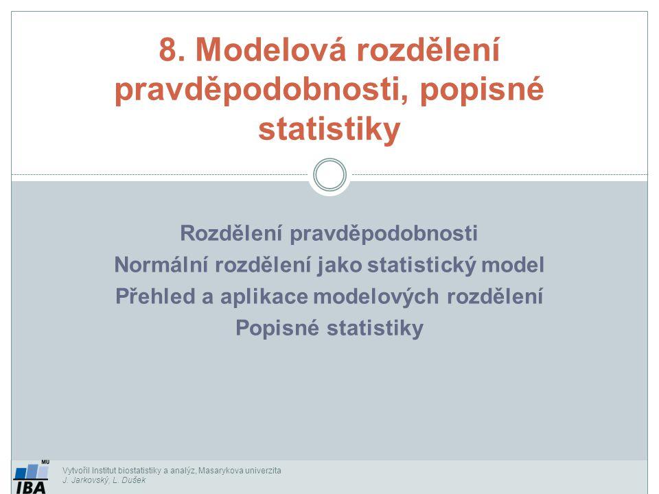 Vytvořil Institut biostatistiky a analýz, Masarykova univerzita J. Jarkovský, L. Dušek Rozdělení pravděpodobnosti Normální rozdělení jako statistický