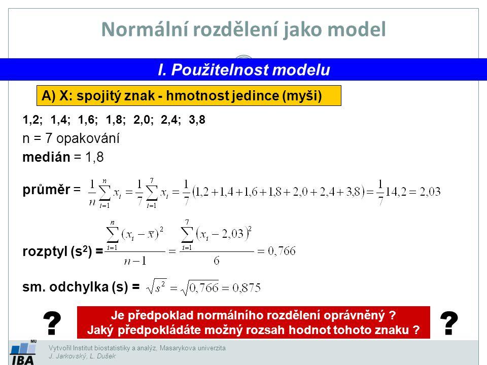 Vytvořil Institut biostatistiky a analýz, Masarykova univerzita J. Jarkovský, L. Dušek Normální rozdělení jako model I. Použitelnost modelu A) X: spoj