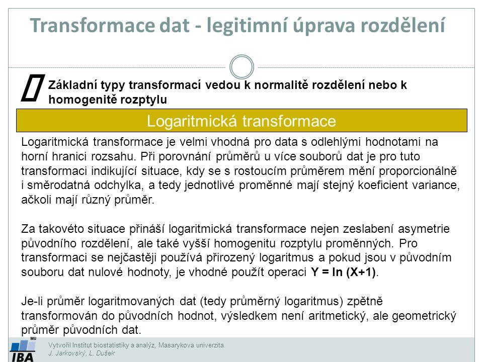 Vytvořil Institut biostatistiky a analýz, Masarykova univerzita J. Jarkovský, L. Dušek Základní typy transformací vedou k normalitě rozdělení nebo k h