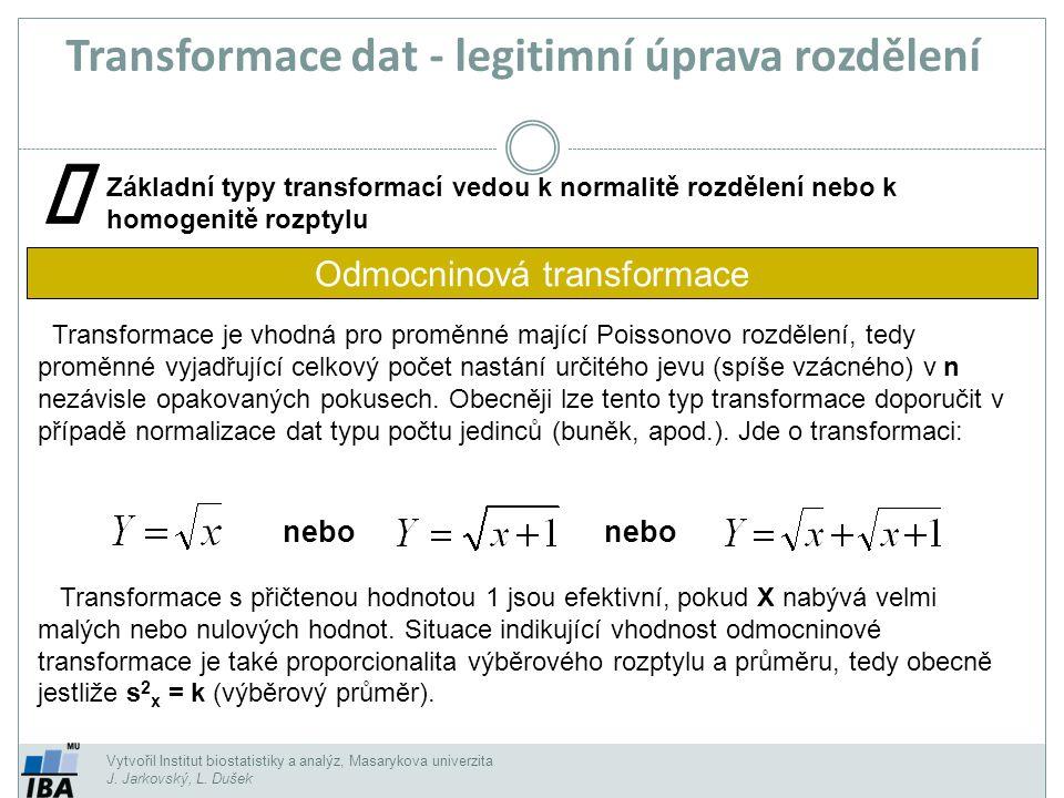 Vytvořil Institut biostatistiky a analýz, Masarykova univerzita J. Jarkovský, L. Dušek Transformace je vhodná pro proměnné mající Poissonovo rozdělení