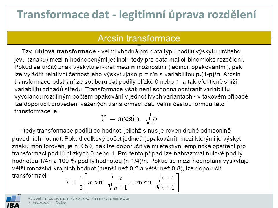 Vytvořil Institut biostatistiky a analýz, Masarykova univerzita J. Jarkovský, L. Dušek Tzv. úhlová transformace - velmi vhodná pro data typu podílů vý