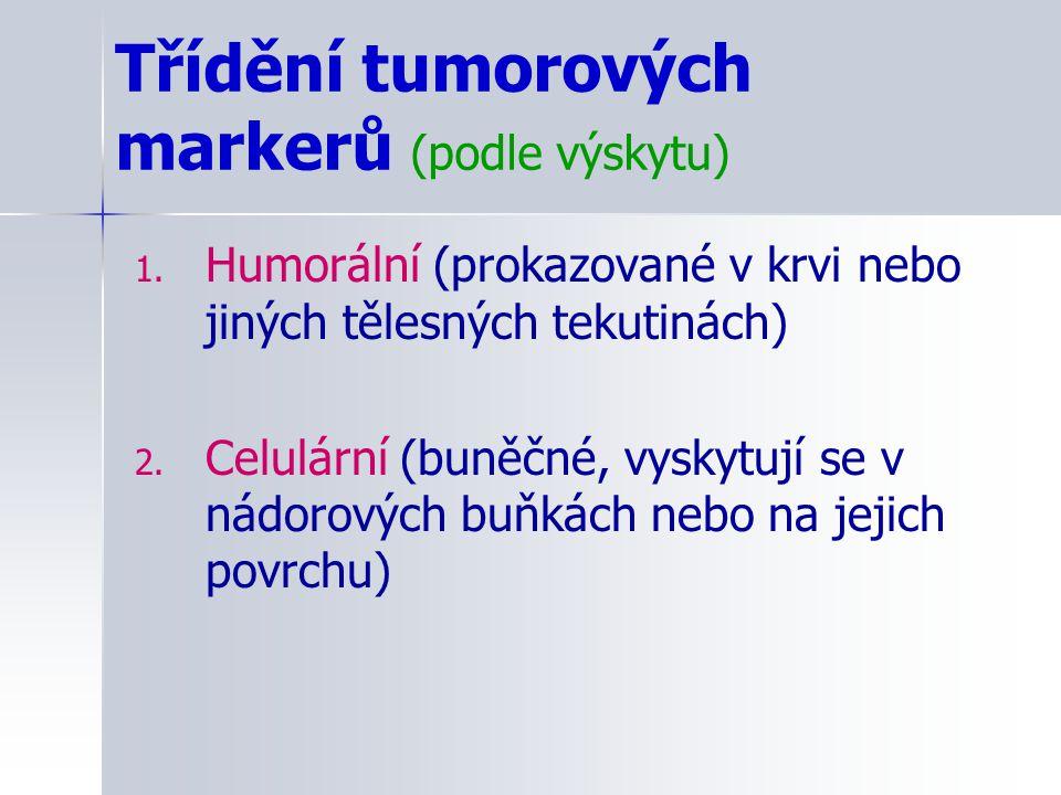 Třídění tumorových markerů (podle výskytu) 1. Humorální (prokazované v krvi nebo jiných tělesných tekutinách) 2. Celulární (buněčné, vyskytují se v ná