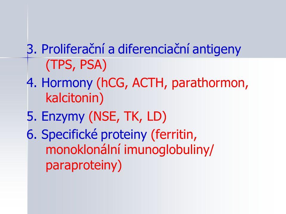 3. Proliferační a diferenciační antigeny (TPS, PSA) 4. Hormony (hCG, ACTH, parathormon, kalcitonin) 5. Enzymy (NSE, TK, LD) 6. Specifické proteiny (fe