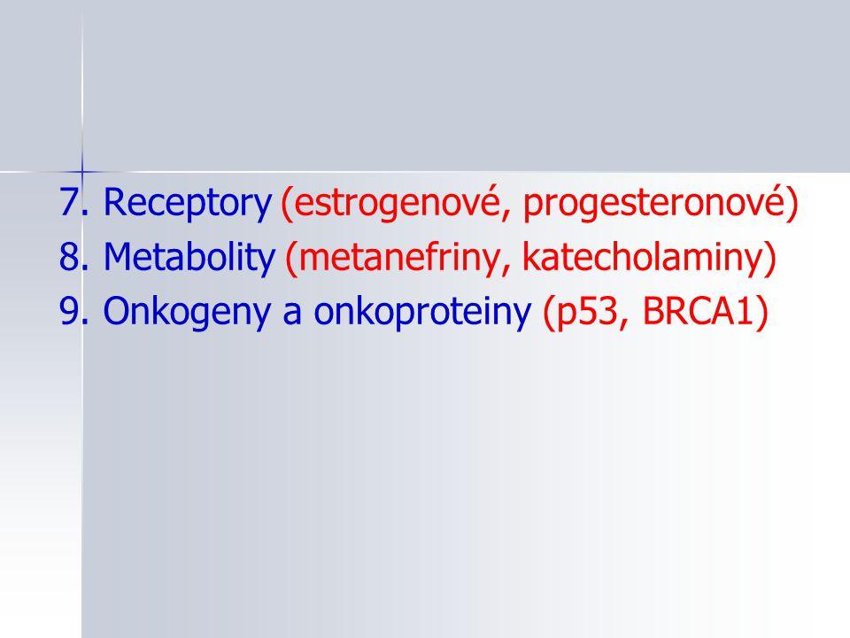 7. Receptory (estrogenové, progesteronové) 8. Metabolity (metanefriny, katecholaminy) 9. Onkogeny a onkoproteiny (p53, BRCA1)