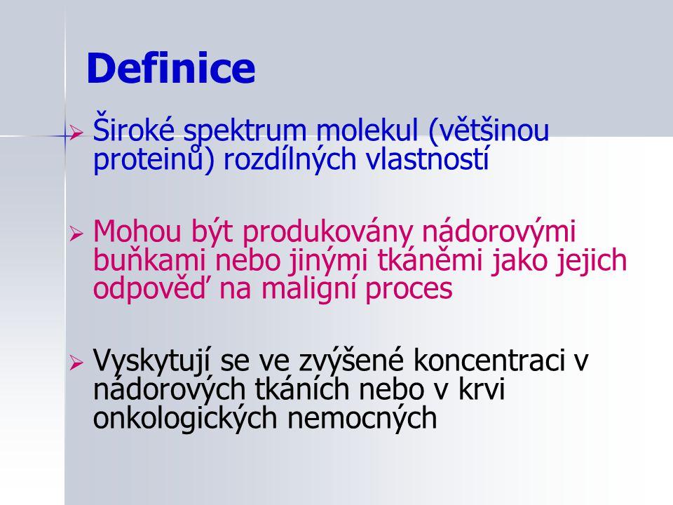Definice  Široké spektrum molekul (většinou proteinů) rozdílných vlastností  Mohou být produkovány nádorovými buňkami nebo jinými tkáněmi jako jejic