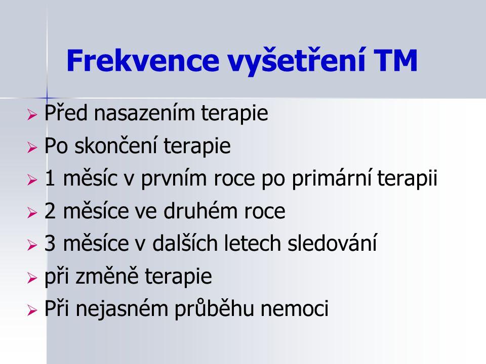 Frekvence vyšetření TM  Před nasazením terapie  Po skončení terapie  1 měsíc v prvním roce po primární terapii  2 měsíce ve druhém roce  3 měsíce