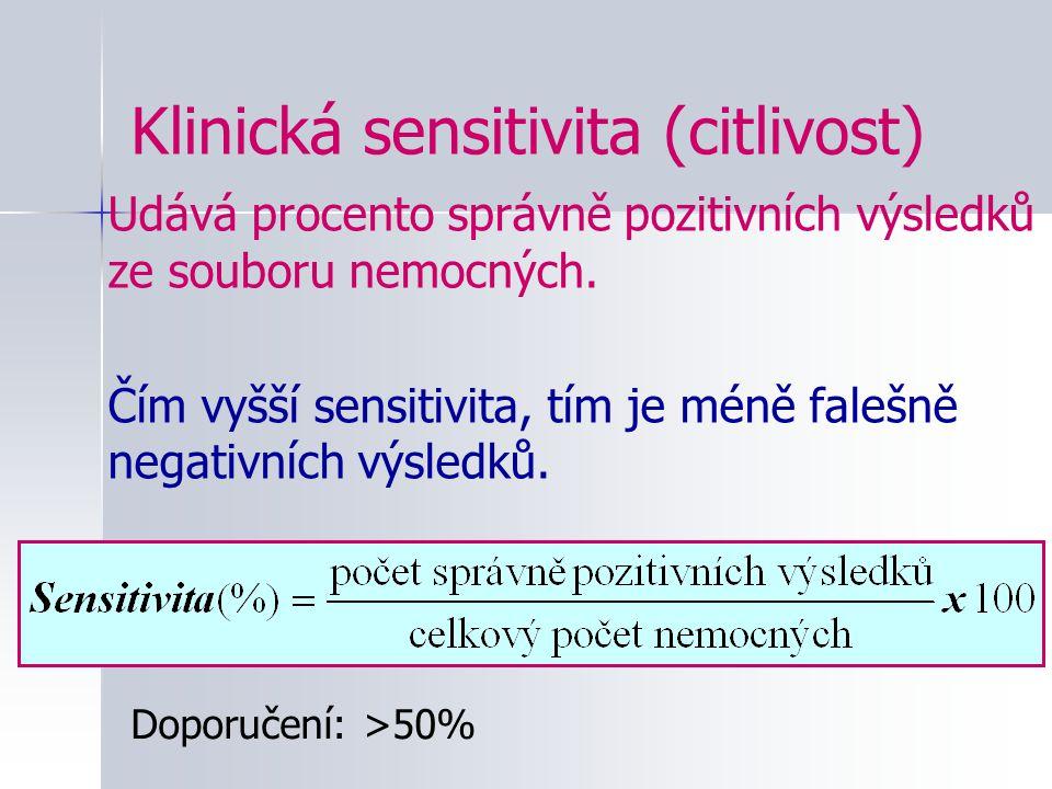Klinická sensitivita (citlivost) Udává procento správně pozitivních výsledků ze souboru nemocných. Čím vyšší sensitivita, tím je méně falešně negativn