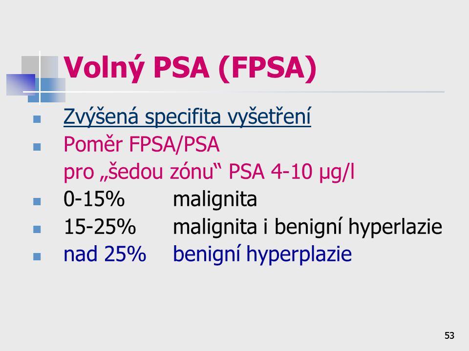 """53 Volný PSA (FPSA) Zvýšená specifita vyšetření Poměr FPSA/PSA pro """"šedou zónu"""" PSA 4-10 μg/l 0-15%malignita 15-25%malignita i benigní hyperlazie nad"""