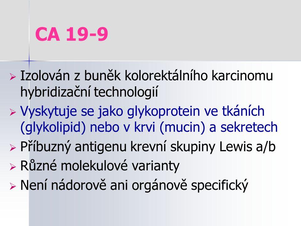 CA 19-9  Izolován z buněk kolorektálního karcinomu hybridizační technologií  Vyskytuje se jako glykoprotein ve tkáních (glykolipid) nebo v krvi (muc