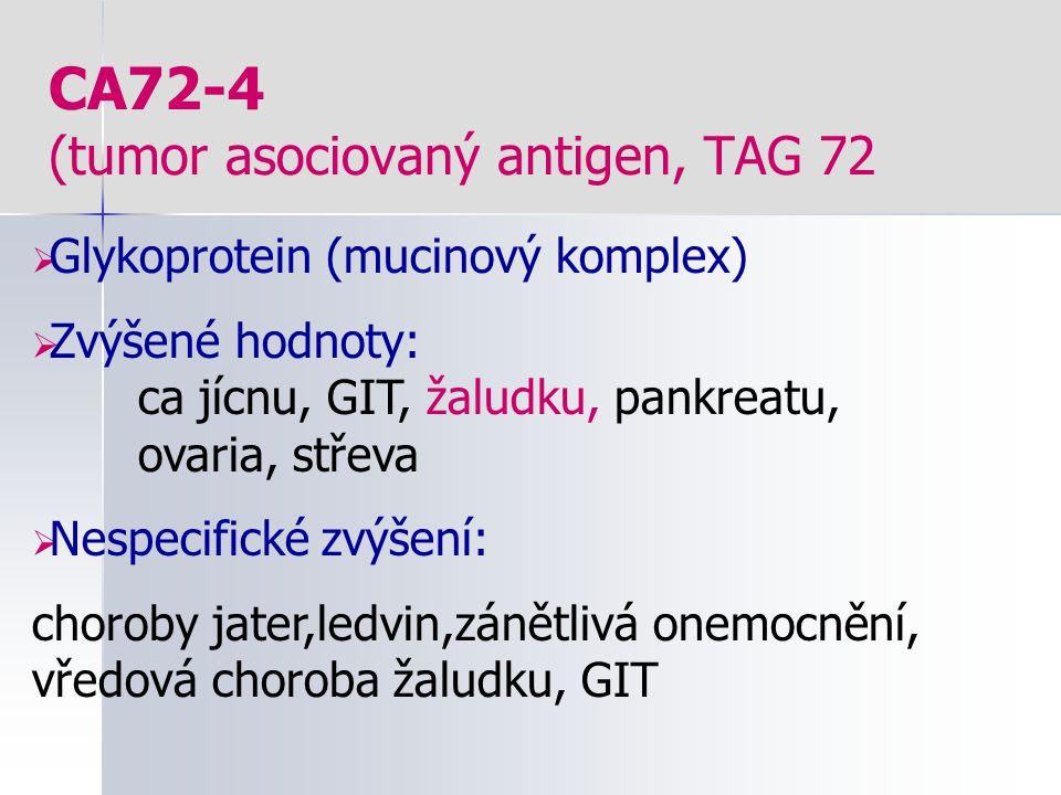 CA72-4 (tumor asociovaný antigen, TAG 72  Glykoprotein (mucinový komplex)  Zvýšené hodnoty: ca jícnu, GIT, žaludku, pankreatu, ovaria, střeva  Nesp