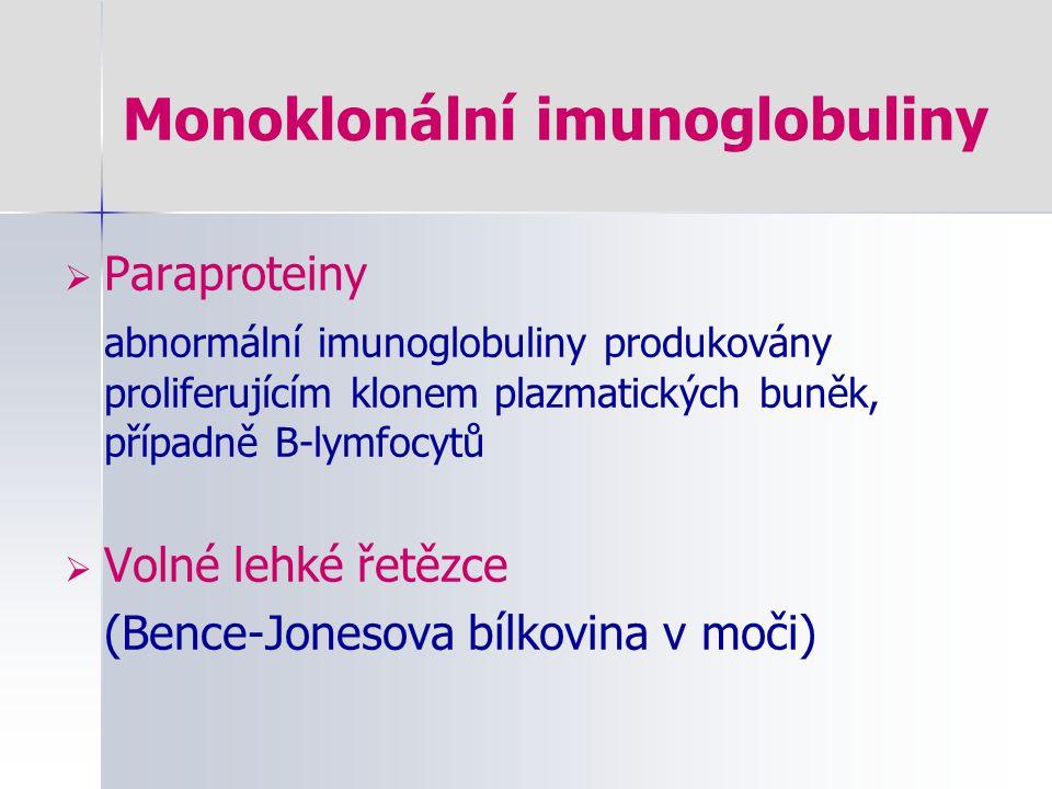 Monoklonální imunoglobuliny  Paraproteiny abnormální imunoglobuliny produkovány proliferujícím klonem plazmatických buněk, případně B-lymfocytů  Vol