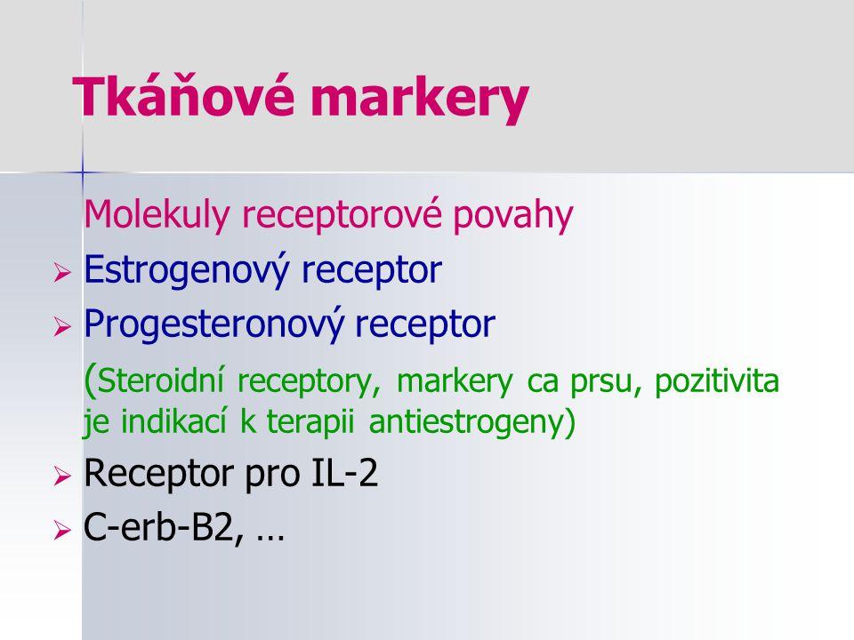Tkáňové markery Molekuly receptorové povahy  Estrogenový receptor  Progesteronový receptor ( Steroidní receptory, markery ca prsu, pozitivita je ind