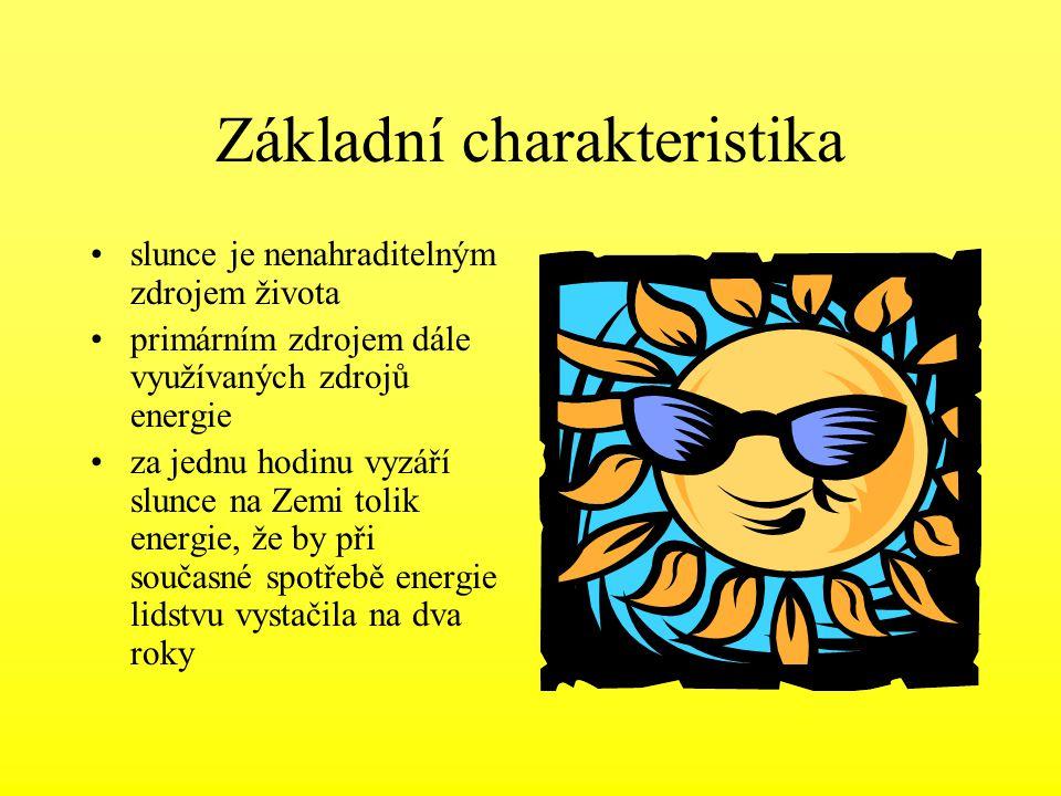 Základní charakteristika slunce je nenahraditelným zdrojem života primárním zdrojem dále využívaných zdrojů energie za jednu hodinu vyzáří slunce na Z