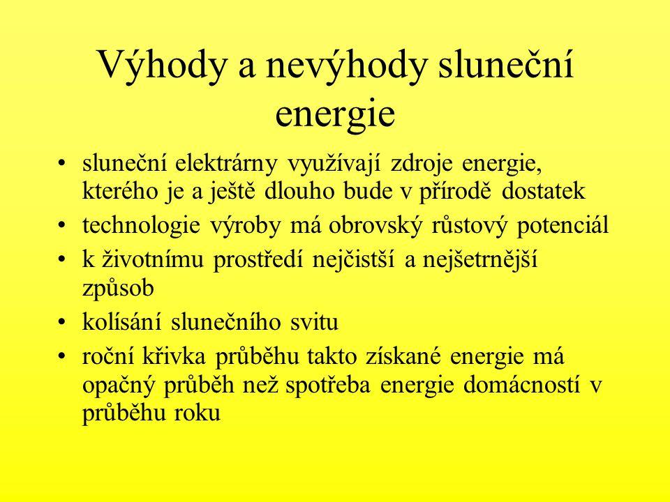 Výhody a nevýhody sluneční energie sluneční elektrárny využívají zdroje energie, kterého je a ještě dlouho bude v přírodě dostatek technologie výroby