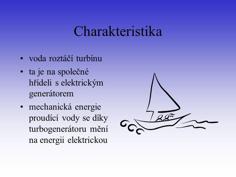 Charakteristika voda roztáčí turbínu ta je na společné hřídeli s elektrickým generátorem mechanická energie proudící vody se díky turbogenerátoru mění