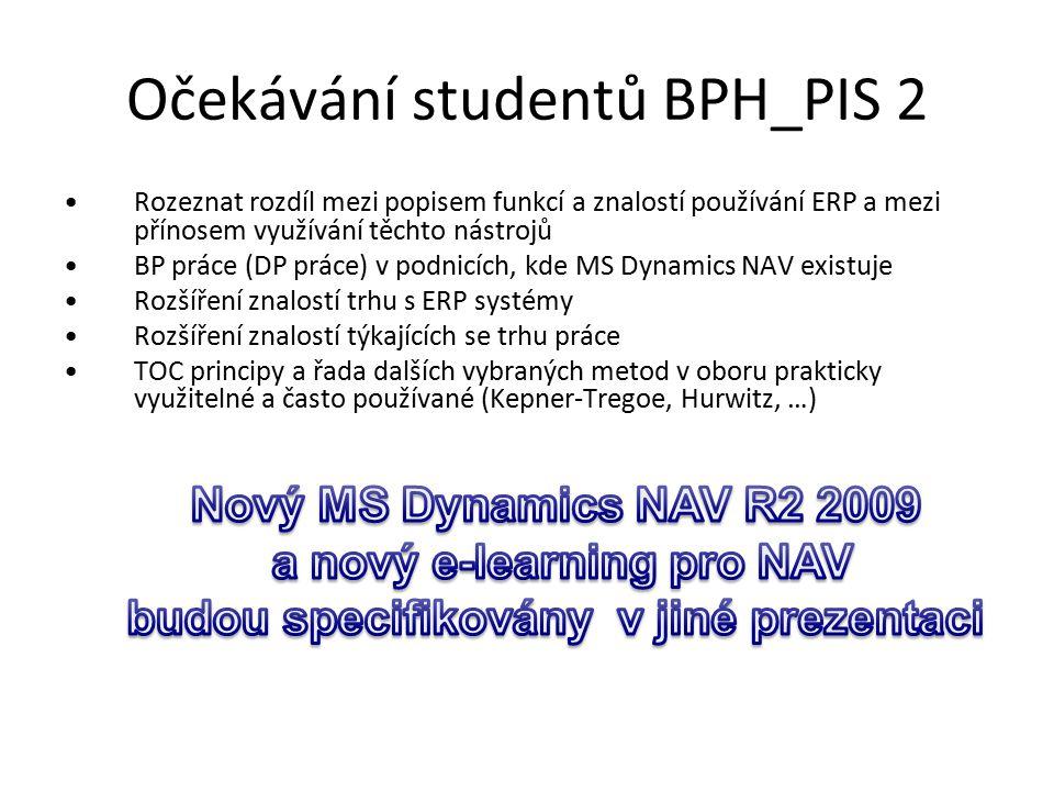 Očekávání studentů BPH_PIS 2 Rozeznat rozdíl mezi popisem funkcí a znalostí používání ERP a mezi přínosem využívání těchto nástrojů BP práce (DP práce) v podnicích, kde MS Dynamics NAV existuje Rozšíření znalostí trhu s ERP systémy Rozšíření znalostí týkajících se trhu práce TOC principy a řada dalších vybraných metod v oboru prakticky využitelné a často používané (Kepner-Tregoe, Hurwitz, …)