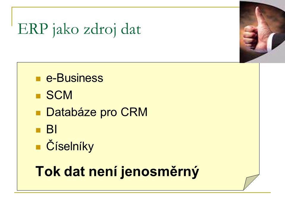 ERP jako zdroj dat e-Business SCM Databáze pro CRM BI Číselníky Tok dat není jenosměrný