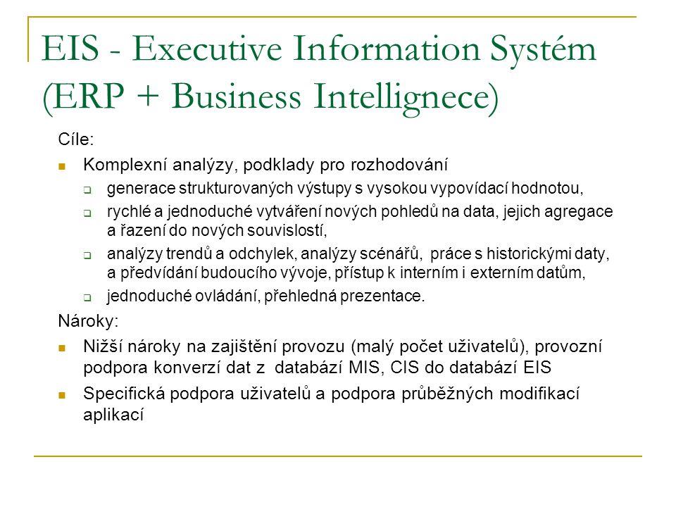 EIS - Executive Information Systém (ERP + Business Intellignece) Cíle: Komplexní analýzy, podklady pro rozhodování  generace strukturovaných výstupy s vysokou vypovídací hodnotou,  rychlé a jednoduché vytváření nových pohledů na data, jejich agregace a řazení do nových souvislostí,  analýzy trendů a odchylek, analýzy scénářů, práce s historickými daty, a předvídání budoucího vývoje, přístup k interním i externím datům,  jednoduché ovládání, přehledná prezentace.