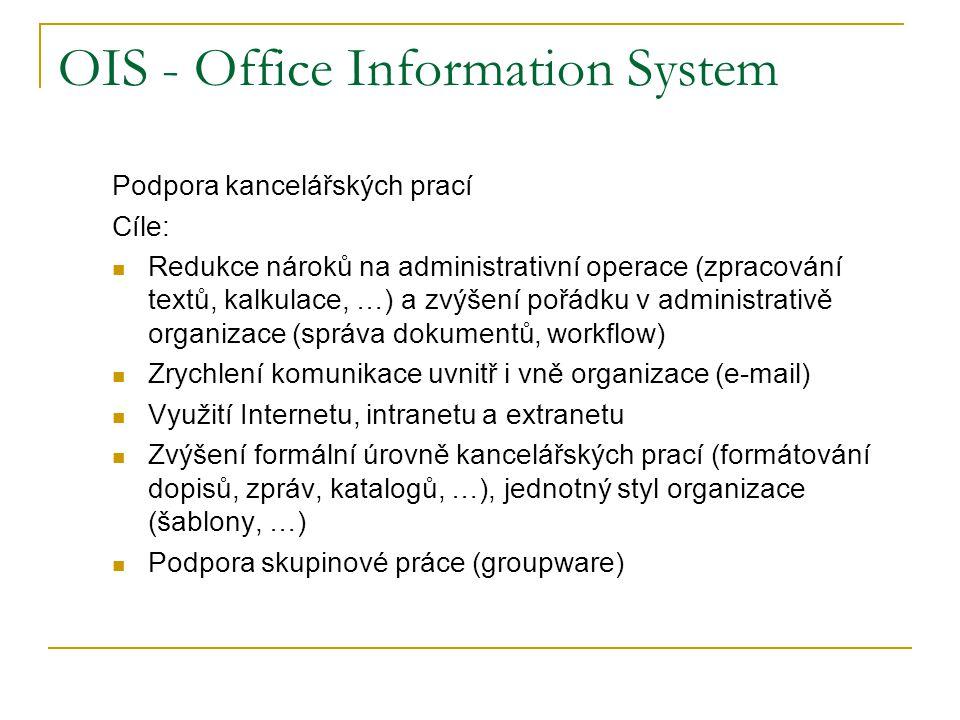 OIS - Office Information System Podpora kancelářských prací Cíle: Redukce nároků na administrativní operace (zpracování textů, kalkulace, …) a zvýšení pořádku v administrativě organizace (správa dokumentů, workflow) Zrychlení komunikace uvnitř i vně organizace (e-mail) Využití Internetu, intranetu a extranetu Zvýšení formální úrovně kancelářských prací (formátování dopisů, zpráv, katalogů, …), jednotný styl organizace (šablony, …) Podpora skupinové práce (groupware)